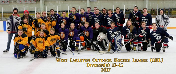 West Carleton Outdoor Hockey League - 13-15 year olds - 2017 Season - Image credit G. Wetherall